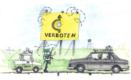 Cartoon: The DDR Road (medium) by Niessen tagged ddr,capitalism,comunism,road,higway,holes,police,vopo