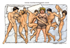 Cartoon: A womans dream (small) by Niessen tagged bed,dream,mattress,sleep,men,naked,bett,träumen,matratze,schlaf,männer,nacktletto,sogno,materasso,dormire,uomini,nudo