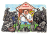 Cartoon: Casa mia (small) by Niessen tagged blacks immigrants monsters fear family danger rifle aggression defense