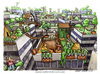 Cartoon: Decrescita felice (small) by Niessen tagged growth,happiness,go,green,rooftop,town,skyscrapers