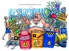 Cartoon: Land of fire (small) by Niessen tagged garbage,waste,toxic,fire,italy,south,campania,mozzarella,fruits,farmer,supermarket