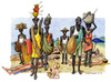 Cartoon: Vu Cumpra (small) by Niessen tagged immigration,africa,hunger,italy,beach,summer,black