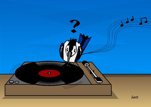 Cartoon: Plattenspecht (medium) by berti tagged inkscape,music,disk,vinyl,pecker,abspielen,schnabel,plattenspieler,platte,musik,specht
