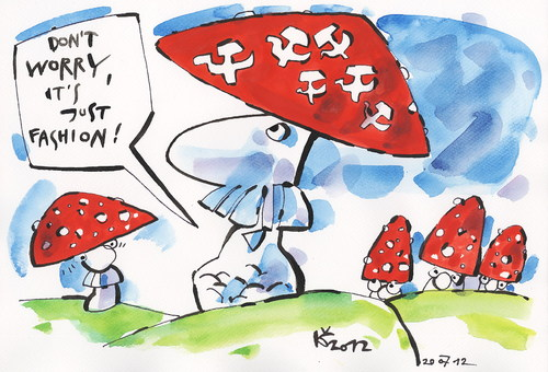 Cartoon: DONT WORRY! (medium) by Kestutis tagged fashion,forest,news,vald,aktuelles,pilze,mushrooms,socialism,communism,red,rot