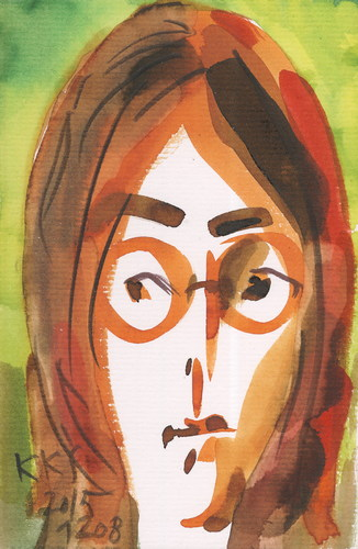 Cartoon: John Lennon (medium) by Kestutis tagged postcard,john,lennon,england,beatles,music,kestutis,lithuania