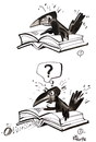 Cartoon: ACCIDENT IN THE LIBRARY (small) by Kestutis tagged textbook,accident,library,book,education,bibliothek,egg,ei,rook,vogel,bird