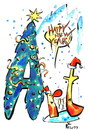 Cartoon: ARTISTS COMMUNITY (small) by Kestutis tagged art,artists,letters,schriftkunst,happy,new,year,künstler