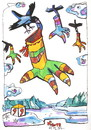 Cartoon: Crows flying to Santa Claus (small) by Kestutis tagged crows,santa,claus,christmas,weihnachten,kestutis,lithuania,adventure,clouds,winter
