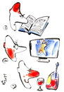 Cartoon: ELOQUENT SILENCE (small) by Kestutis tagged wine,man,woman,book