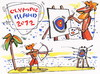 Cartoon: OLYMPIC ISLAND. Archery (small) by Kestutis tagged archery olympic island desert modern art london 2012 summer kestutis siaulytis lithuania palm ocean comics comic strip artist insel künstler target