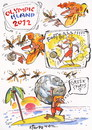 Cartoon: OLYMPIC ISLAND. Greek Sports (small) by Kestutis tagged greek,sports,london,2012,summer,greece,football,desert,island,olympic,ocean,sun,kestutis,siaulytis,lithuania,comic,globe,soccer,hercules,myth,wasp,earth,sphere,comics,strip