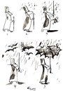 Cartoon: WALKING IN THE RAIN (small) by Kestutis tagged umbrella,happeninig,natura,rain,bat