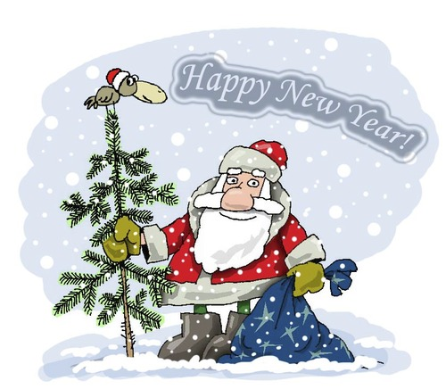 Cartoon: Happy New Year! (medium) by krutikof tagged new,year,holiday,tree,postcard,greeting,gift