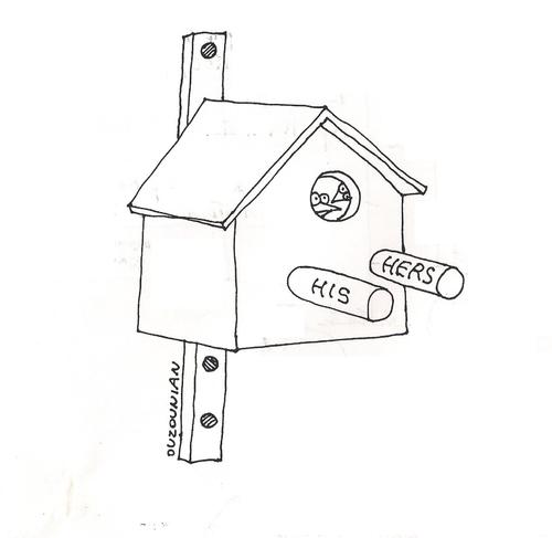 Cartoon: birds and stuff (medium) by ouzounian tagged relationships,birds,couples,birdhouses