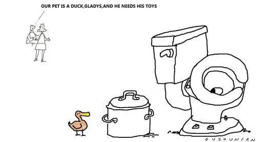 Cartoon: ducks and stuff (medium) by ouzounian tagged ducks,pets,toys
