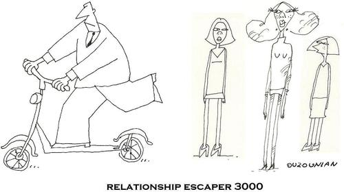 Cartoon: relationships and stuff (medium) by ouzounian tagged scooters,escape,relationship,women,men