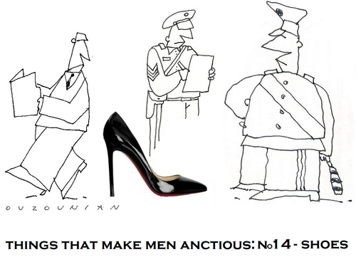 Cartoon: womens shoes and stuff (medium) by ouzounian tagged shoes,women,men