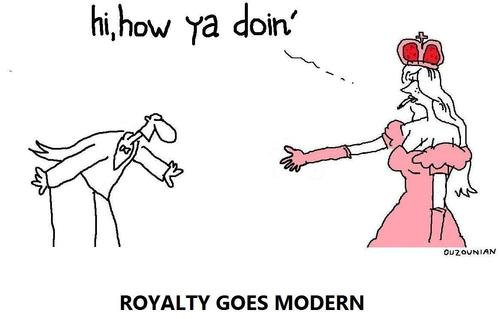 Cartoon: royalty and stuff (medium) by ouzounian tagged royalty,modernity,populism