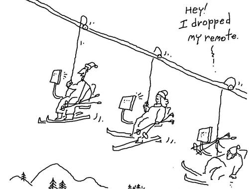 Cartoon: tv watching and stuff (medium) by ouzounian tagged nature,tv,skiing