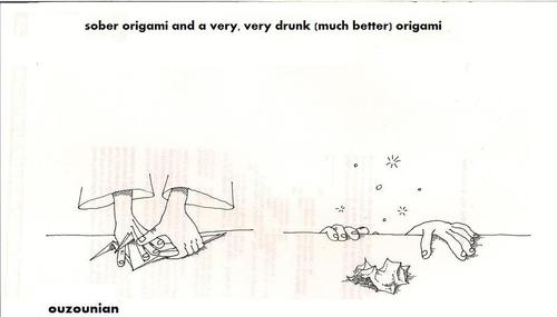 Cartoon: origami and stuff (medium) by ouzounian tagged alcohol,drinking,origami,art,artists