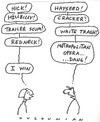 Cartoon: competition and stuff (small) by ouzounian tagged argument,combacks,men,women