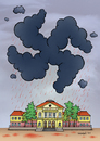 Cartoon: Black cloud over the high school (small) by dragas tagged dragas,kragujevac,serbia,yugoslavia,germany