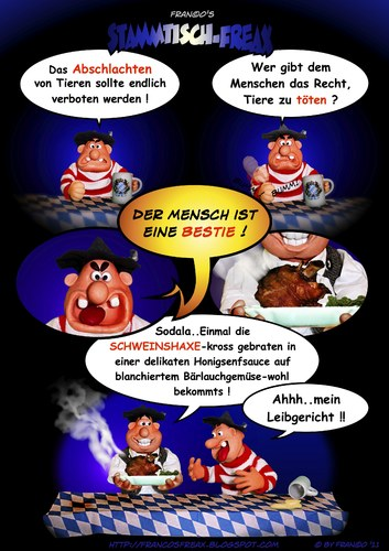 Cartoon: Der Moralapostel (medium) by AlterEgon tagged stammtischfreax,knetcartoon,knete,knetfiguren,schweinshaxe,bayern,alteregon,moralapostel,moral,oktoberfest