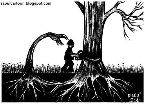Cartoon: Roots (medium) by Raoui tagged scie,cut,couper,plante,environment,nature,ecologie,ecology,destruction,foret,woods,arbre,tree