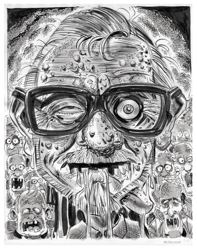 Cartoon: GEORGE A. ROMERO (medium) by McDermott tagged dead,zombies,romero,dawnofthedead,scary