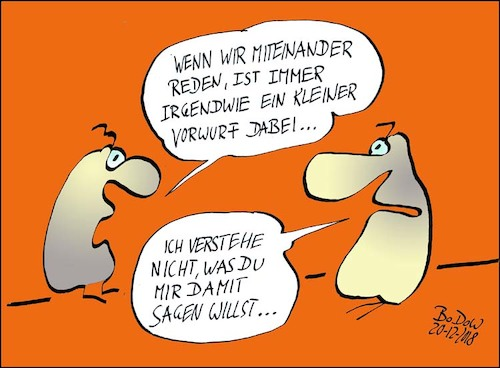 Cartoon: Spitzen ... (medium) by BoDoW tagged beziehung,paar,kommunikation,spitzen,vorwurf,subtil