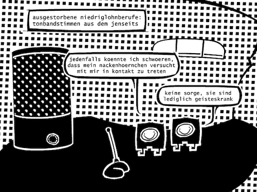 Cartoon: Niedriglohn (medium) by bob schroeder tagged job,arbeit,lohn,mindestlohn,digitalisierung,tonband,kassette,sprachassistent
