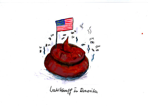 Cartoon: Amerika (medium) by Skowronek tagged donald,trump,hillery,clinton,wahlkampf,demokraten,republikaner