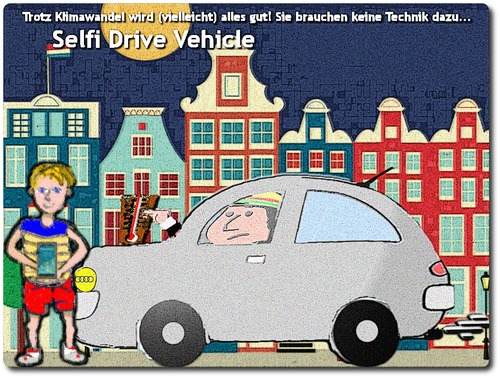 Cartoon: Selfi Drive Vehicle (medium) by Nikklaus tagged auto,autonomes,smartphone,gpu,con,tech,amsterdam,vehicle,selfi,self
