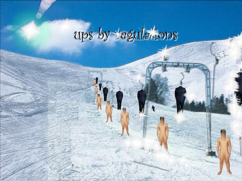 Cartoon: Ups by regulations (medium) by Nikklaus tagged ski,lift,clothes,naked,made,regulations,up,uups,snow,montains,heaven,blue,white,traction