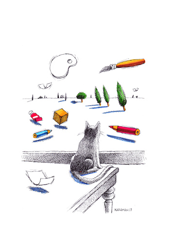 Cartoon: Katze 8 (medium) by Mehmet Karaman tagged katze
