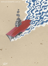 Cartoon: Aircraft carrier (small) by Jesse Ribeiro tagged war peace aircraft carrier ship desert sea death invasion