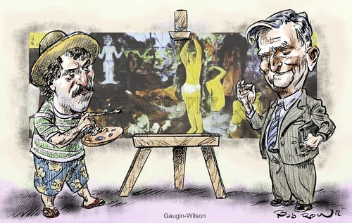 Cartoon: Gaugin-Wilson (medium) by Bob Row tagged wilson,gaugin,entomology,biology,human,destiny