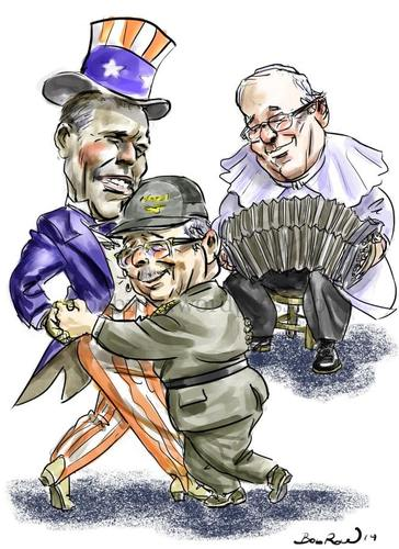 Cartoon: Obama_Castro_Francis (medium) by Bob Row tagged obama,castro,francis,cuba,usa,vatican,cold,war