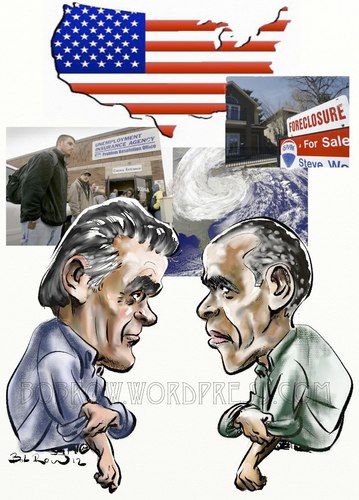 Cartoon: Romney Obama ready to rumble (medium) by Bob Row tagged romney,obama,elections,vote,usa,democracy,crisis,unemployment,sandy,foreclosures