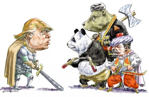 Cartoon: Trump-trade wars (medium) by Bob Row tagged trump,sword,trade,war,china,panda,russia,bear,turkey