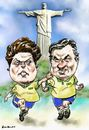 Cartoon: Dilma_Aecio (small) by Bob Row tagged aecio dilma neves rousseff brazil elections democracy