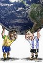 Cartoon: Pele_Messi (small) by Bob Row tagged pele,messi,world,cup,fifa,soccer,brazil,argentina