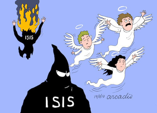 Cartoon: IS to the hell. (medium) by Cartoonarcadio tagged is,terror,spain,barcelona