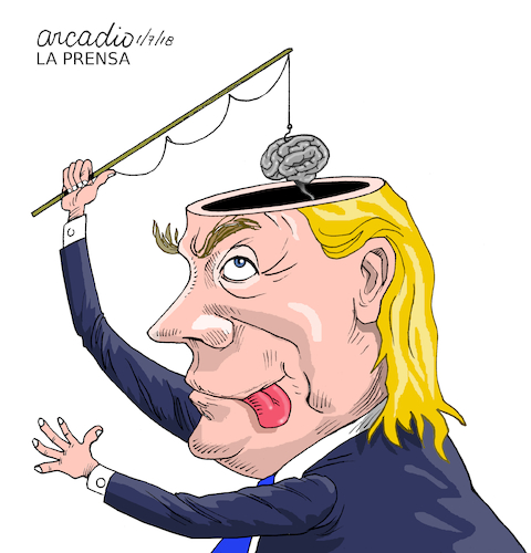 Cartoon: Little brain Trump. (medium) by Cartoonarcadio tagged trump,us,president,usa,white,house