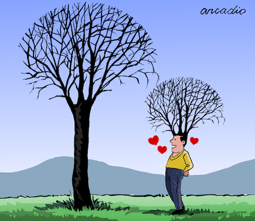 Cartoon: Love for the nature. (medium) by Cartoonarcadio tagged nature,environment,planet,earth