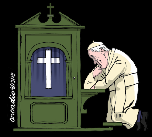 Cartoon: Mea culpa. (medium) by Cartoonarcadio tagged catholic,church,vatican,pope,francis