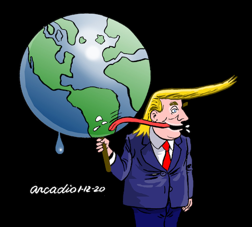 Cartoon: Owner of the world. (medium) by Cartoonarcadio tagged trump,world,conflict,ego,white,house