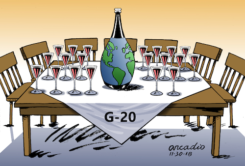 Cartoon: Reflections after G20 Summit. (medium) by Cartoonarcadio tagged g20,argentina,money,economy