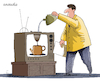 Cartoon: One use for an old TV. (small) by Cartoonarcadio tagged tv,humor,gag,cartoon,coffee