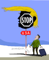 Cartoon: US Quit Migration Pact. (small) by Cartoonarcadio tagged usa,trump,foreign,affairs,us,president